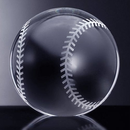Amlong Crystal Baseball Paperweight 3.5 inch with Gift Box