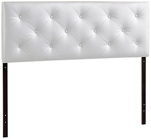 ale Interiors Baltimore Contemporary Faux Leather Headboard, Full, White (Leather Full Headboard)