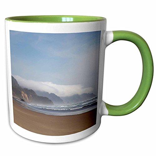 3dRose Danita Delimont - Beaches - USA, Oregon, Arcadia Beach headlands - US38 JWI0477 - Jamie and Judy Wild - 15oz Two-Tone Green Mug (mug_145743_12)