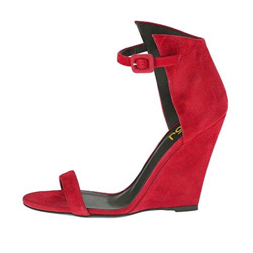 Fsj Donna Open Toe Sandali Con Zeppa Cinturino Alla Caviglia In Camoscio Faux Suede Scarpe Da Sera Club Size 4-15 Us Rosso