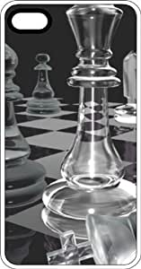 Clear Chess Pieces & Board White Rubber Case for Apple iPhone 4 or iPhone 4s