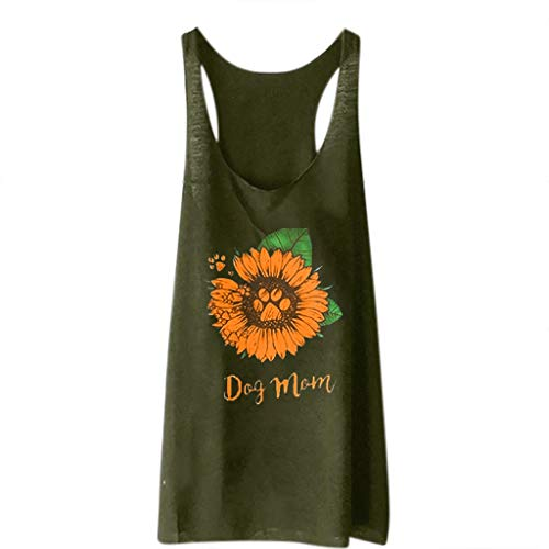 - DAYPLAY Women's Sunflower Print Vest Casual Loose Tank Top Sleeveless Tank Sport Pullover Tunic Tops Tee T Shirt Blouse Army Green