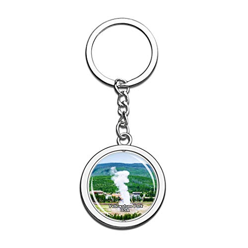 Keychain Old Faithful Geyser United States USA US Keychain Crystal Spinning Round Stainless Steel Keychains Souvenir Key Chain Ring -