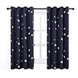 Anjee Navy Blue Star Print Blackout Curtains for Kids Room (2 Panels 2 Curtain Tiebacks), Thick Thermal Insulated Window Drapes for Living Room, Light Blocking Decoration Curtain Panels, W52 x L63 in