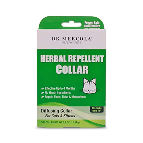 Dr Mercola Herbal Repellent Collar For Cats & Kittens with Natural Active Ingredients, Long-lasting Flea Prevention - Odorless, Safe & Waterproof Flea Collars Effective Up To 4 Months, Necks up to 12