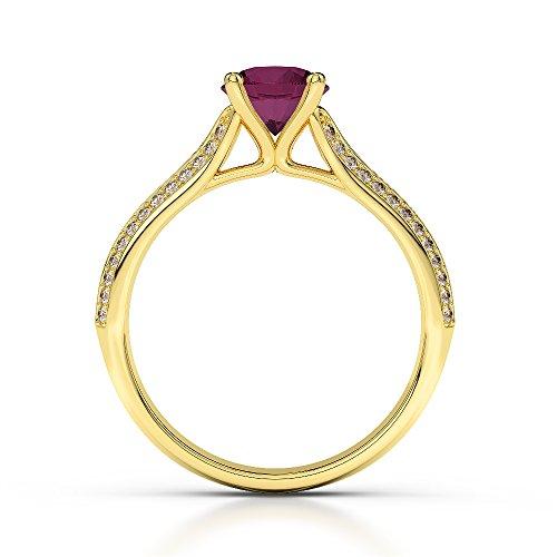 Or jaune 18carats 1CT G-H/VS sertie de diamants ronds Cut Rubis et bague de fiançailles Agdr-1200