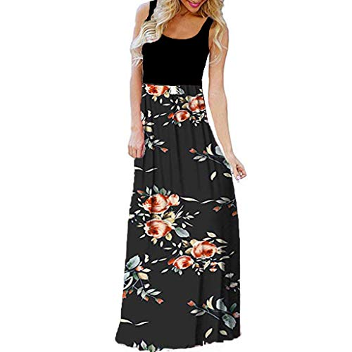(Pongfunsy Womens Summer Dress Women Striped Long Boho Dress Ladies Beach Sundress Maxi Dress 2019 Black (S, Black 20))