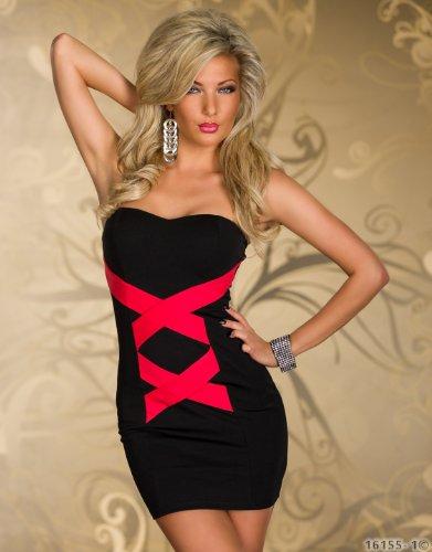 Jowiha mini-robe en dentelle noir/rouge-bandage look 3 tailles :  s, m et l