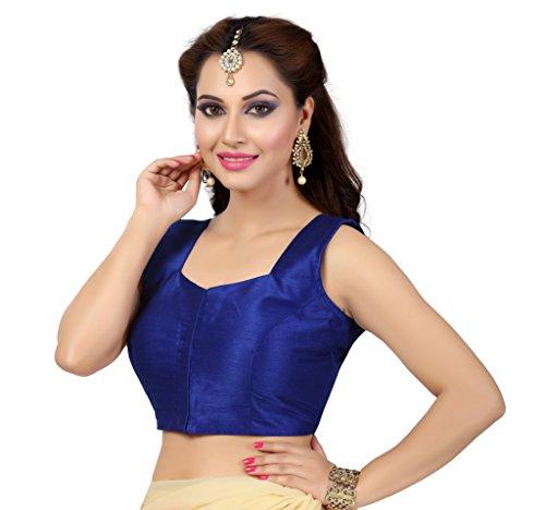 TrendyFashionMall-Readymade-Sleeveless-Silk-Saree-Blouse-Blue-XSmall36