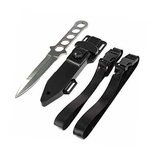 Qiorange Silver Dive Knife ll, All Stainless with Line Cutter, Razor Edge (Black Edge Legs)