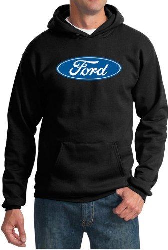 (Ford Logo Hoodie Hooded Sweatshirt - Oval Emblem Adult Hoody (4XL, Black))