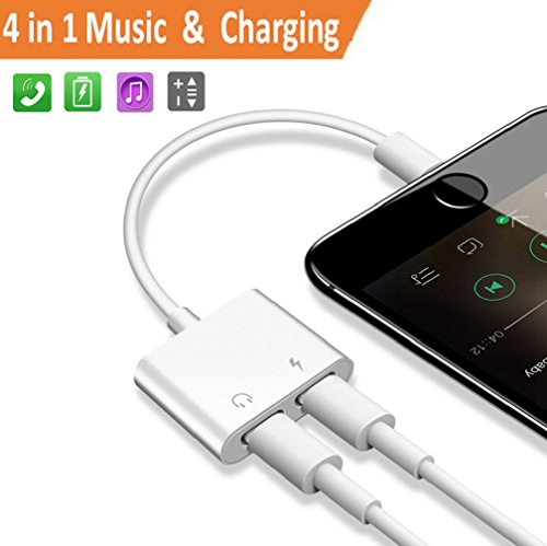 2 in 1 Lightning Adapter Headphone Jack for iPhone 8/8 Plus iPhone X iPhone 7/7 Plus.AUX Female Audio Adaptor&Splitter Cable (Audio+Charge+Music Control+Phone Call) Support iOS 10.3/11.3 or Later