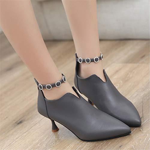 Zapatos Gris Yan Diamante Punta De Botas Mujer En Tacones Atractivas Desnudas Aguja Huecas a4qwT4
