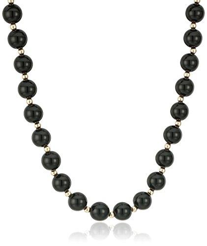 10k Yellow Gold Onyx Beaded Strand Necklace, (Beaded Onyx)