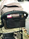 Stroller Organizer for Smart Moms, Premium Deep Cup Holders, Extra-Large Storage Space for iPhones, Wallets, Diapers, Books, Toys, iPads (Black)