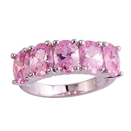 (Psiroy Women's 925 Sterling Silver Created Pink Topaz Filled 5 Stone Engagement Ring Size 6)