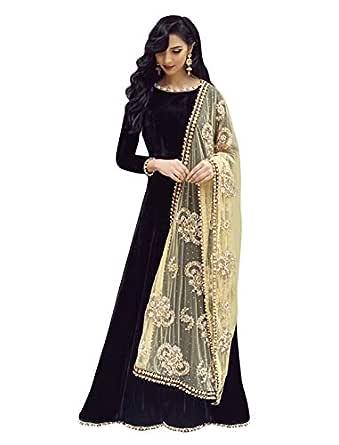 Pop Mantra Women's art silk anarkali Salwar Suit Set (70918_ Black_ Xxx-Large)