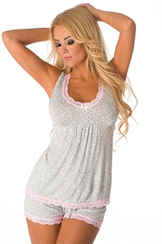 Pretty two piece pajama set features a tank top with v-neckline, empire waist, lace trim, front bow accent, and matching shorts with a drawstring waistband. 95% Rayon, 5% Spandex