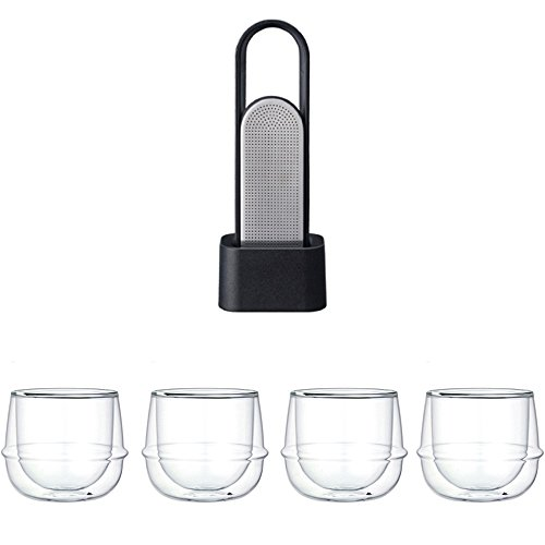 KINTO LOOP Tea Black Strainer and Four KRONOS Double Wall Wine Glass Set of 5 by KitcheNova
