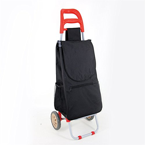 Hand Truck Pull Rod Car Portable Supermarket Shopping Cart Collapsible Iron Tube Trolley Household Waterproof Bag Seniors Small Cart 25 Kg Load Strong and firm (Color : Red) -