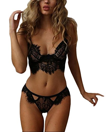 7dbd460a084e8 ALLICERE Womens Sexy Nightwear Lingerie Set Lace Bra +Thongs Briefs  G-String with Steel