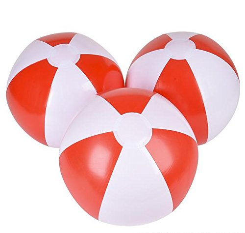 16'' RED AND WHITE BEACH BALL, Case of 288 by DollarItemDirect