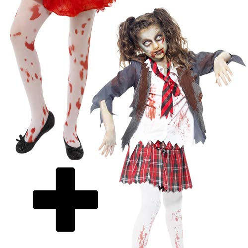 mfd high school horror zombie tights girls fancy dress halloween childrens costume 7