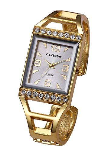 Top Plaza Womens Fashion Gold Analog Quartz Bangle Cuff Bracelet Watch Rectangle Case Arabic Numerals Rhinestones Dress Jewelry Wrist Watches 6.5 Inches #1 from Top Plaza