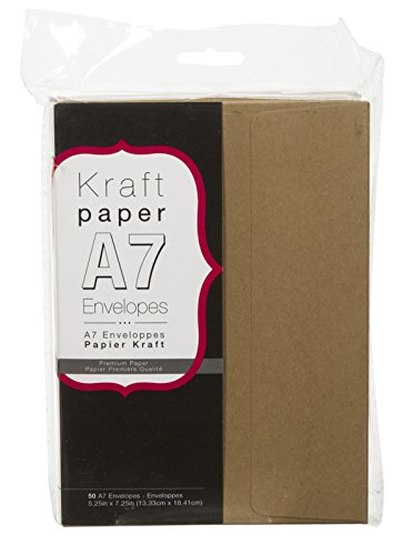 Darice Smooth A7 Envelopes, 5.25-Inch by 7.25-Inch, Kraft, 50-Pack -