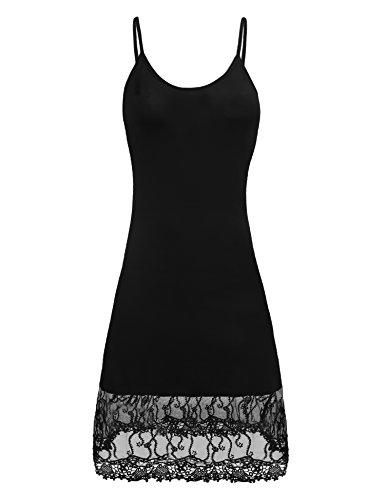 Finejo Women's Adjustable Spaghetti Strap Chiffon Ruffle Camisole Dress Extender Black S ()