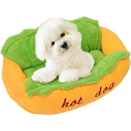 Dominiti Hundebett Hot Dog, Schlafplatz zum chillen, Hundekissen für kleine  Hunde und Welpen