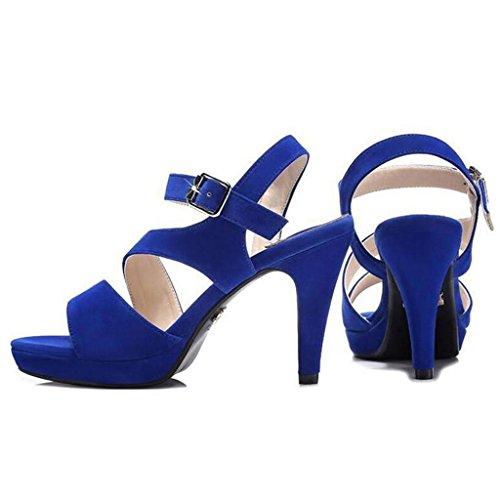 W&LM Sra Tacones altos sandalias Ultra delgado sandalias ocio Tacones altos Boca de pescado sandalias Blue