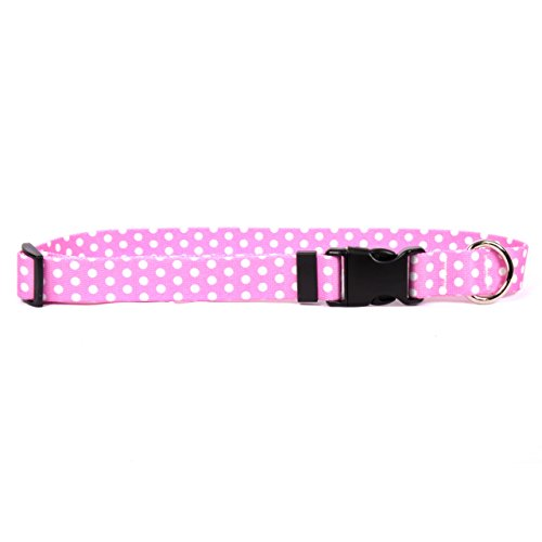 Yellow Dog Design New Pink Polka Dot Dog Collar, Small-3/4