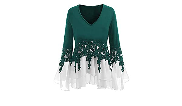 YOcheerful Womens Casual Chiffon T-Shirt V-Neck Long Sleeve Blouse Tops Sexy Tee(X-Green, XS) at Amazon Womens Clothing store: