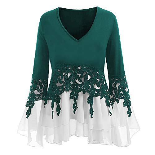 (HIRIRI Women Applique Ruffle Dress Blouse Long Flare Sleeve Sexy Ladies Tops V-Neck Loose Pullover Green)