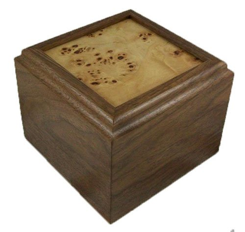 Solid Walnut Pet Urn – Frame Top Mappa Burl – 70 Cubic Inch Capacity