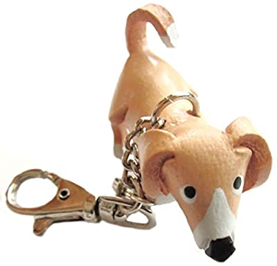 Purse Charms - Brown Leather Dog - Clasp, Chain, Keychain Fob - #3025