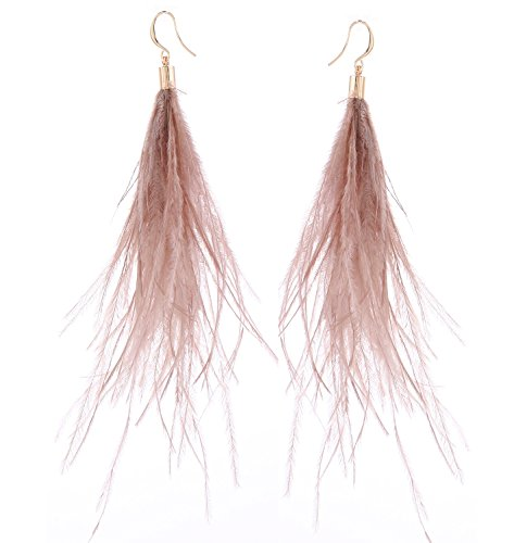 Women Long Dangle Earring Feather Elegant Thread Feather Jewelry for Gift Winter Party Bohemian (Light Brown, gold-plated-copper)