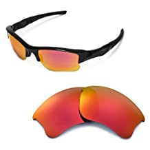 Walleva Replacement Lenses for Oakley Flak Jacket XLJ Sunglasses -Multiple Options (Fire Red Mirror Coated - Polarized)