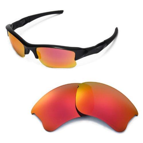 Walleva Replacement Lenses for Oakley Flak Jacket XLJ Sunglasses - Multiple Options (Fire Red)