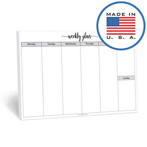 "321Done Blank Week Planning Pad Landscape - 50 Sheets (8.5"" x 5.5"") - Horizontal Weekly Days of Week Notepad, Planner Organizing - Made in USA - Simple Script"