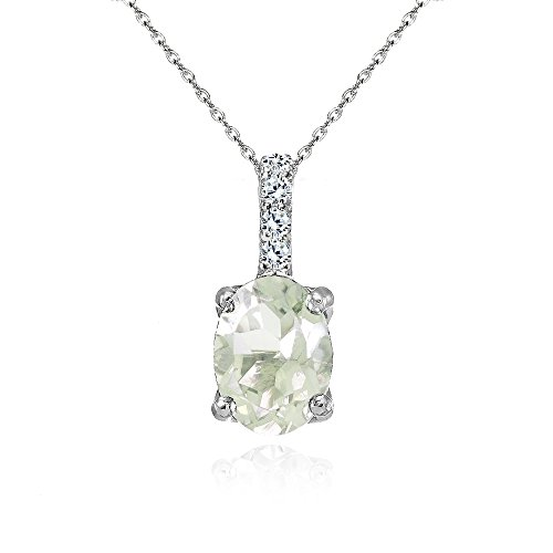 - Sterling Silver Green Amethyst and White Topaz Oval Crown Necklace
