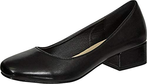 (Cambridge Select Women's Classic Square Toe Slip-On Low Block Heel Pump (10 B(M) US, Black PU))