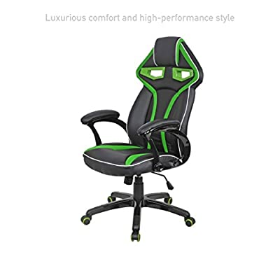 Executive Racing Car Style High Back Computer Gaming Chairs Comfortable Bucket Seat Swivel Desk Task Posture Support Home Office Furniture #1569grn