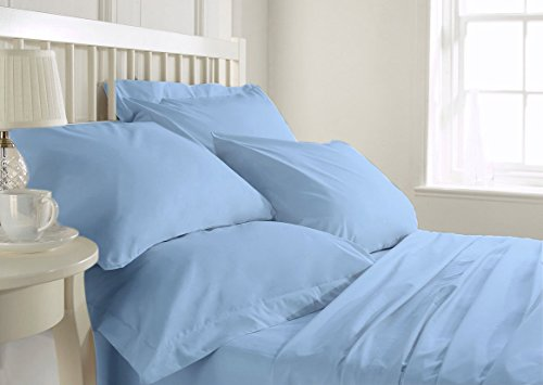 Bluemoon Homes Luxurious 1000 Thread Count Italian Finish 100% Egyptian Cotton 4-Piece Bed Sheet Set, Fits Mattress Up to 21 inches Deep Pocket, Solid Pattern (Color - Sky Blue, Size - King).