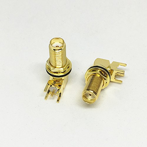 50Pcs Brass SMA Female Long Nut Bulkhead PCB Right Angle Plug PCB Deck Thru Hole SMA Female RF Connector