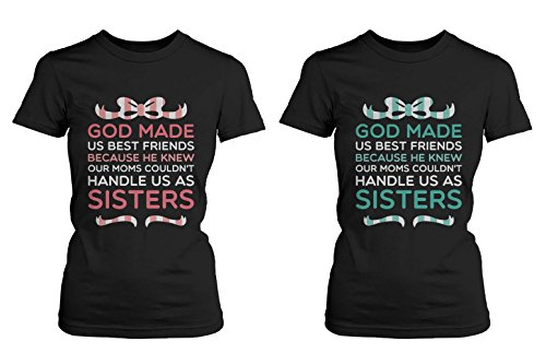 Best Friend Quote T Shirts - God Made Us Best Friends - Cute Matching BFF Shirts (Left-S / Right-S)
