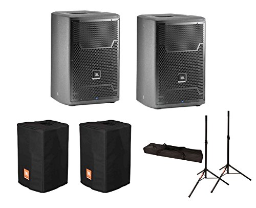 2x JBL PRX710 1500 Watt Active Monitor Powered Speaker + Covers + Stands w/ Bag