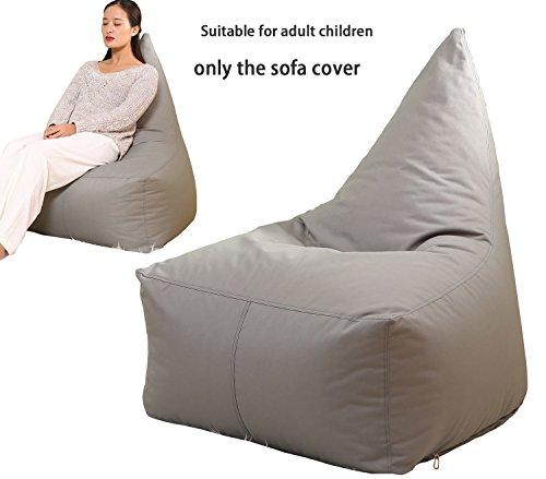 Quwei Bean Bags Chair Cover Triangel Creative Cartoon DIY Comfortable Mini Sofa Indoor/Outdoor Soft Floor Cushion Lazy Sofa (grey) by Quwei
