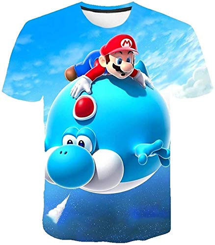 AMCYT Super Mario T-shirt, meisjes, kind, uniseks, korte mouwen, 4-14 jaar